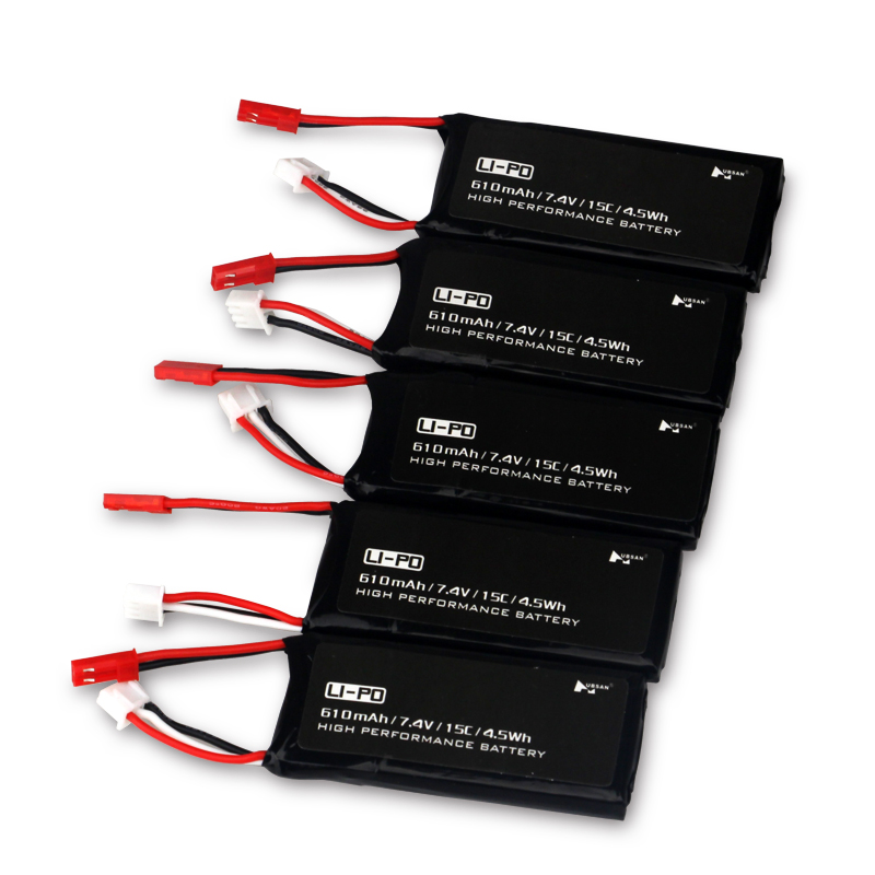5 шт. высокая производительность тесто Hubsan 7.4 В 610 мАч 15C 2 S 4.5wh lipo Батарея для Вертолет перезаряжаемый аккумулятор RC Запчасти