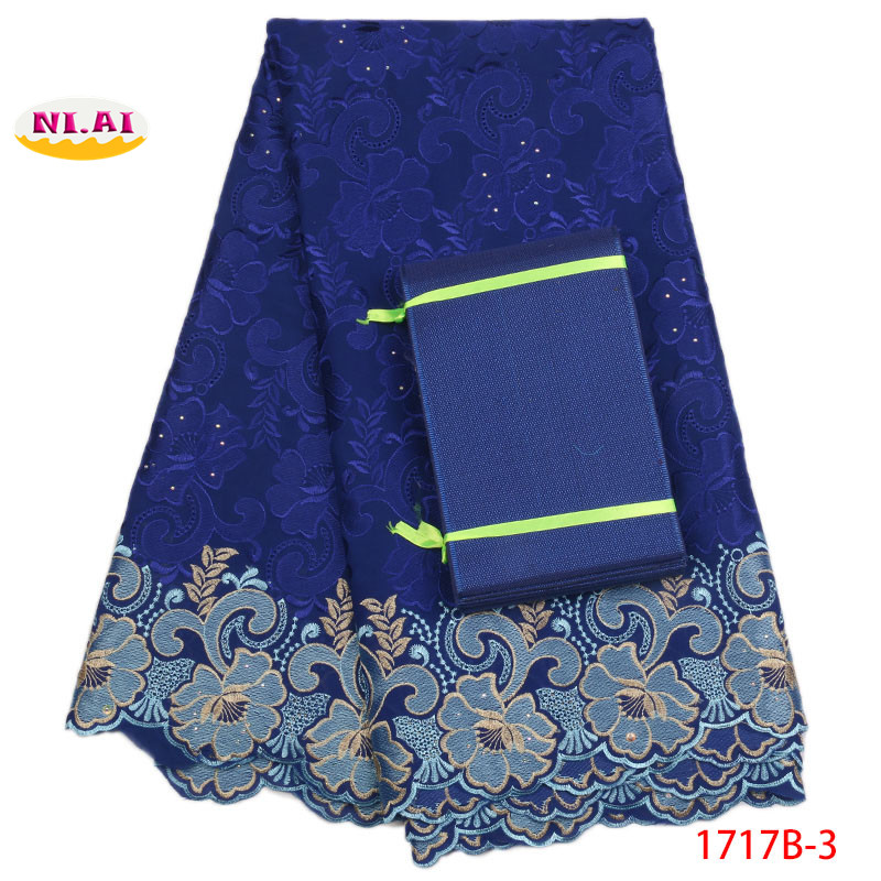 Nigerian Lace Fabrics For Wedding 2018 Royal Blue Cotton Lace Fabric Newest Gele Headtie Dry Lace