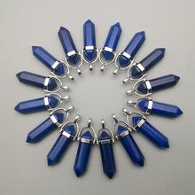 fashion natural stone blue crystal pillar pendulum Pendants & necklaces for making Jewelry charm Point parts 24pcs/lot wholesale