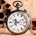 Vintage Open Face Roman Numers Mechanical Pocket Watch Fashion Hand Winding Ancient White Nurse Steampunk Men Women Chain Gift