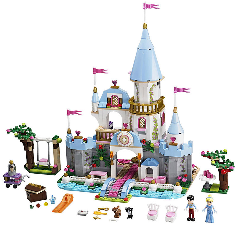 697pcs Lepin Diy Blocks Model Cinderellas Romantic Castle Compatible with Legoingly 41055 Girl Friends Brick toys for children