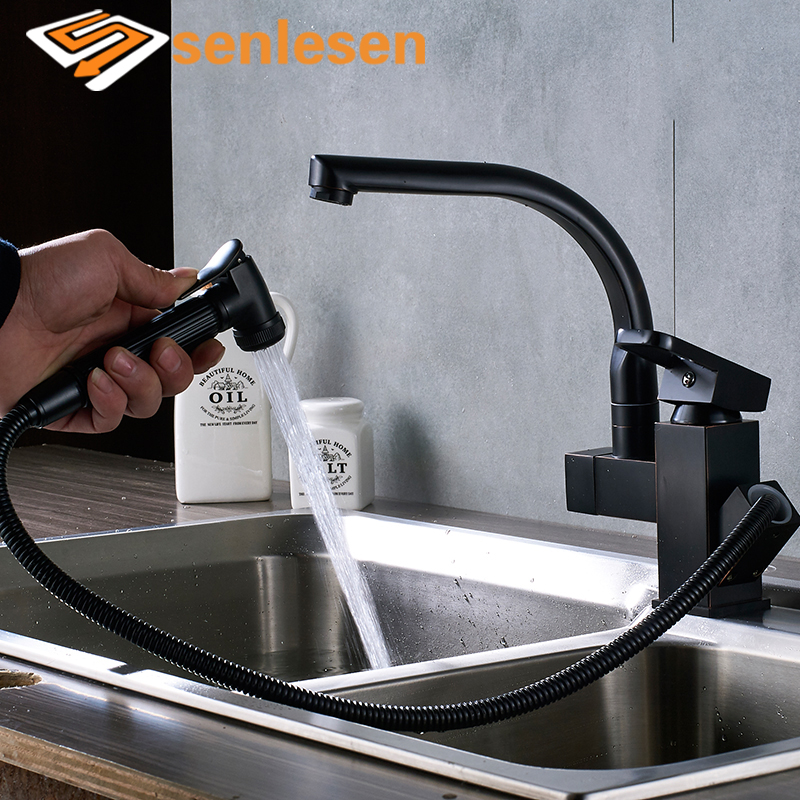 Wholesale And Retail Kitchen Faucet Balck 360 Swivel Spout Kitchen Faucet Single Handle Hole Vessel Sink Mixer Tap wholesale and retail luxury chrome brass 360 swivel spout kitchen faucet single handle hole vessel sink mixer tap