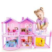Sylvanianed animal family Doll house Villa Castle With ABS plastic Furnitures girl Dream Diy dollhouse toys House for 6 Years