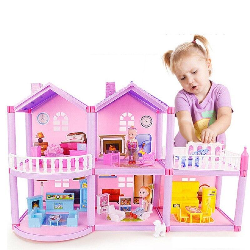 Sylvanipenchée maison de poupée de famille d'animaux château de Villa avec des meubles en plastique ABS fille rêve bricolage maison de poupée jouets maison pour 6 ans
