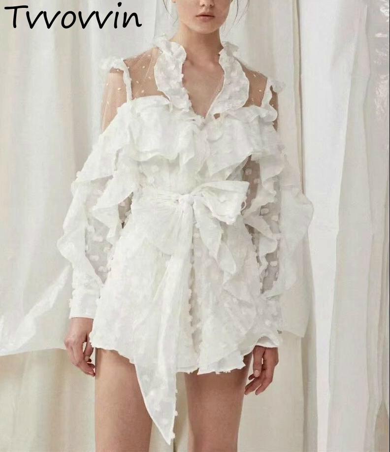 Femme combinaison à volants maille couture Perspective combishorts femmes blanc point v-cou barboteuses 2019 mode Sexy combinaison E970