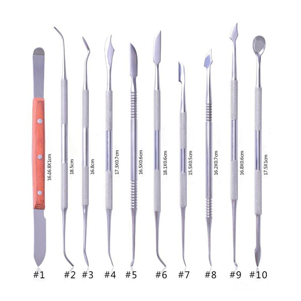 Купить с кэшбэком Julydream 10PC Carving Knife Set For Dental Lab Equipment  3D Print Cleaning Tool Kit DIY Craft Amateur Carver Artist with Bag