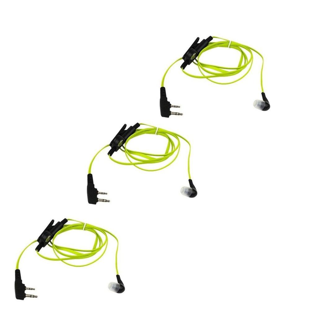 3pcs Yellow 2PIN Earpiece For BAOFENG UV5R 888S KENWOOD TH D7/F6/22/225 HYT TYT