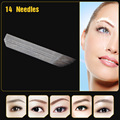 CHUSE 100 PCS 14 Pin Needles Permanent Makeup Manual Eyebrow Tattoo Needles Blade For 3D Embroidery Microblading  tattooing