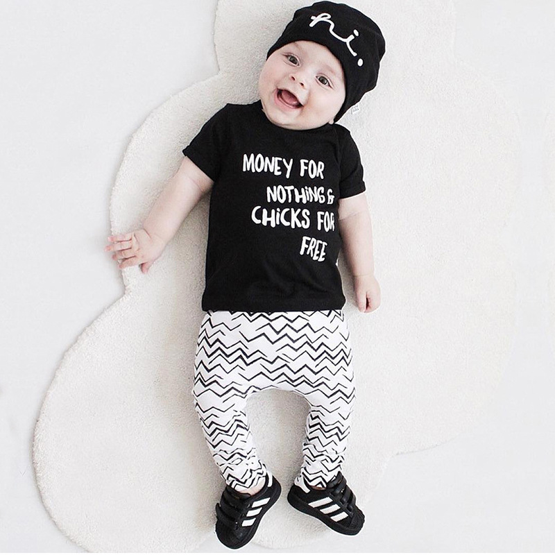 2018 Summer Baby boys girls clothes Toddle sets Cotton Short sleeve Money for nothing T-shirts +Pants 2PCS clothing set Outfit