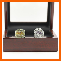 2000 2012 BALTIMORE RAVENS CHAMPIONSHIP RING 2 PCS RING SET COLLECTION WITH WOODEN BOX US SIZE