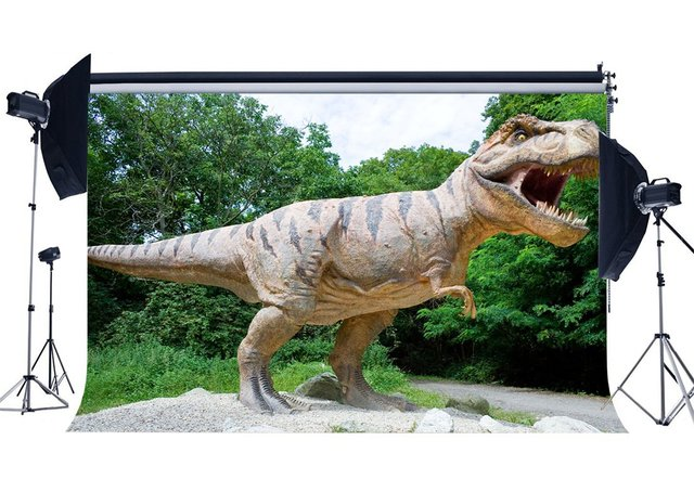 Динозавр фон Юрского периода джунгли зеленые деревья страшный динозавр фон для фотосъемки