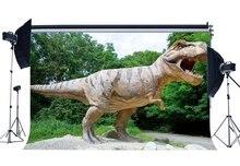 Dinosaure toile de fond jurassique période Jungle forêt arbres verts effrayant dinosaure photographie fond