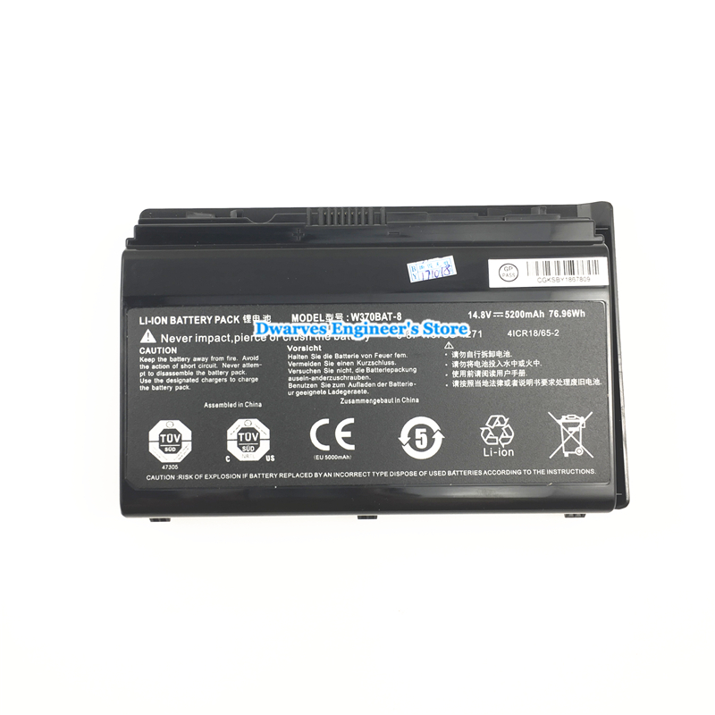 Image 2 - Original Rechargeable CLEVO W370BAT 8 Li ion Battery 6 87 W370S 4271 6 87 W37SS 427 K590S Laptop Battery 14.8V 5200mAh, 76.96Wh-in Laptop Batteries from Computer & Office