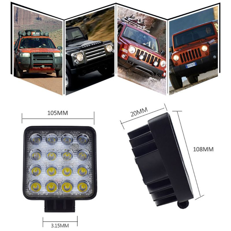 Image 5 - New 48W Vehicel Headlights 16LEDs Cool White Light Bar 4inch Vehicle Work Light LED Truck For SUV qyh-in Light Bar/Work Light from Automobiles & Motorcycles