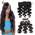 7A Peruvian Lace Frontal Closure With Bundles Peruvian Body Wave Hair Bundles With Lace Frontals Human Hair Full Frontal Closure