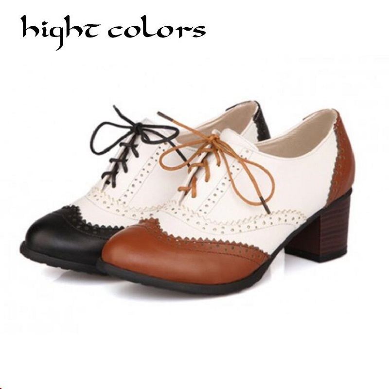 цена на New Plus Size 34-43 Thick Heel High Heels Oxford Shoes For Women Fashion Vintage British Style Lace Up Women Pumps Shoes Woman