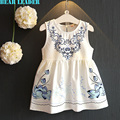 Bear Leader Girls Dress 2016 Chinese Style Girls Clothes Blue and White Porcelain Vest Dress for Kids Clothes Lotus Dress