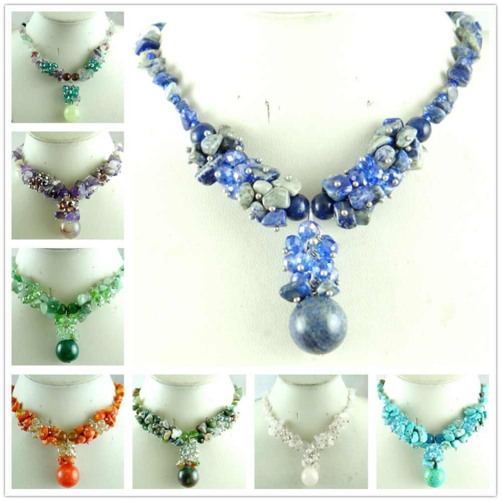 Alam Tidak Teratur Batu Ametis Onyx Kuarsa Lapis Lazuli Fluor Kerikil Batu Kalung Wanita BoHo Kalung Power Perhiasan