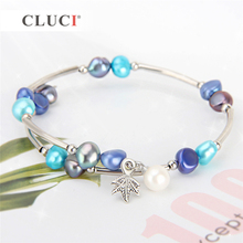 CLUCI White 6-7mm Freshwater Pearl Bracelet Jewelry Gift for Women Fashion Stretchy