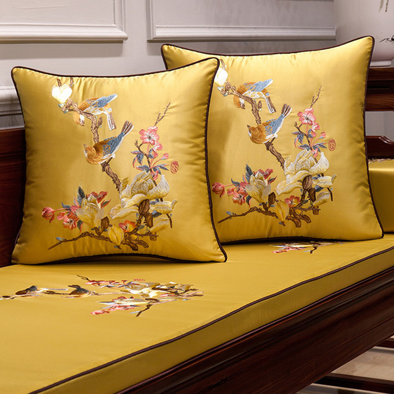 Elegant Sofa Pillows: Chinese Embroidery Cushion Cover Couple Bird Elegant