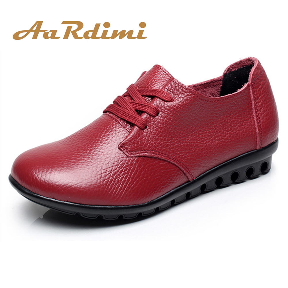 AARDIMI 2018 Genuine Leather Women Shoes Spring Lace-up Round Toe Solid Women Flats Shoes Casual Flat Shoes Woman Mother Shoes flat women autumn shoes woman casual lace up flats comfortable round toe loafers shoes flat shoes women