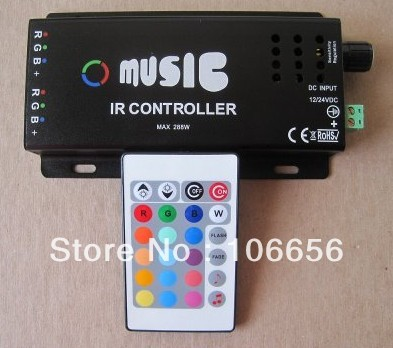 Audio & Music IR controller for led strip DC12v 10A 120w 2 ports  (R G B +)