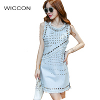 Fashion Cute Denim Women Summer Dress Washed Jeans Rivet Design Hollow Out Womens Dresses Tassel Edge