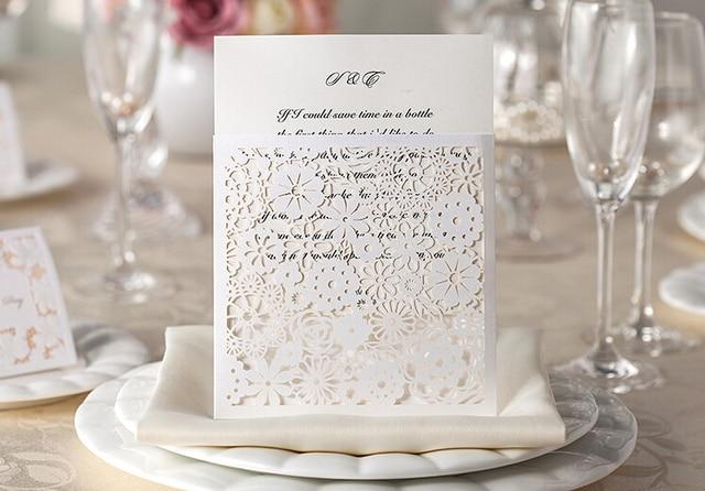 personalized elegant laser cut flora design white cheap wedding