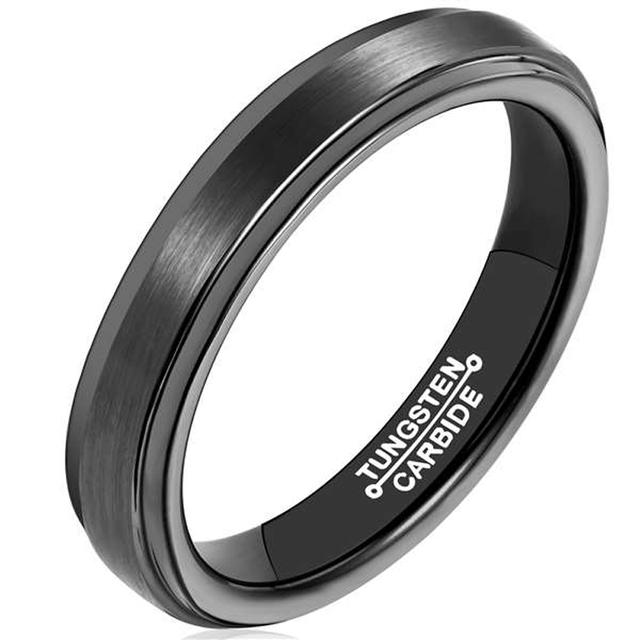 Black Plating Man's Tungsten Carbide Rings