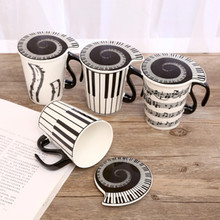 2019 Coffee Tea Mug Cup Product Para Brand Ceramic Music Note Mark Water Couple Keyboard With Lid