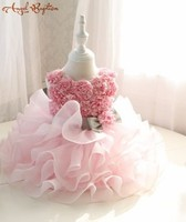 2018 new Pink Flower Girl Dress Infant Tutu dresses glitz pageant tiered tulle cupcake baby Easter 1 year birthday party outfit