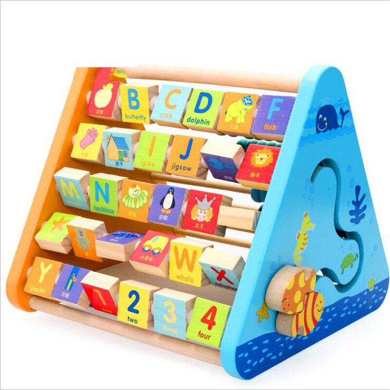 Support d'apprentissage à cinq côtés multi-fonction calculant enfants outil éducatif de mathématiques en bois lettres cognitives couleur Animal