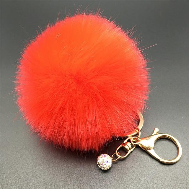 8 cm Fluffy Pele PomPom Bola Anel Chave Chaveiro Bolsa Charme Pingente de Chave Do Carro Chaveiro Cadeia Rodada Cores Sólidas Moda jóias