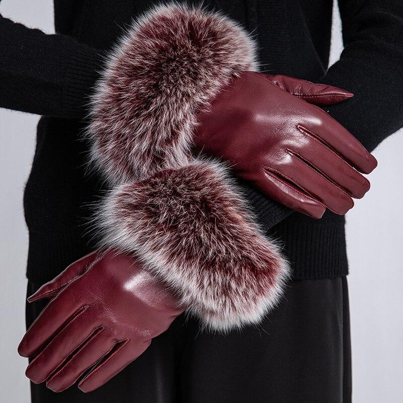 Sumusan femmes écran tactile gants en cuir hiver épais chaud noir gants dame anti-dérapant villus mouton moufles en cuir