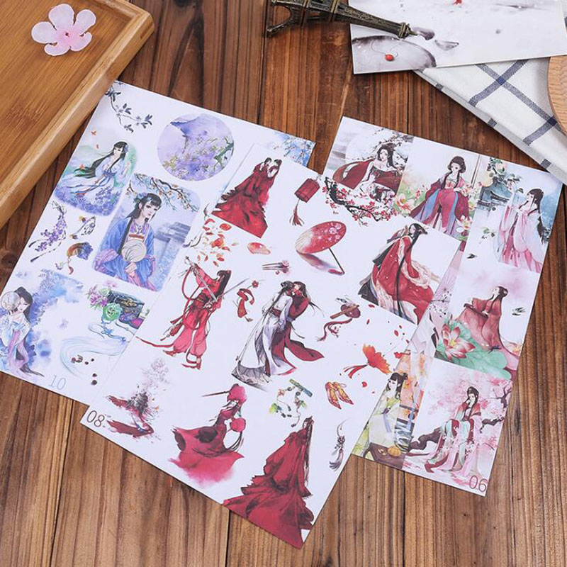 3pc/bag,chinese Ancient Hand Painting Drawing Children Transparent Sticker Pvc Sticker Diary Decoration Scrapbook Boy Girl Gift
