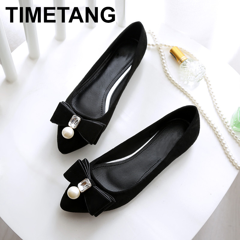 TIMETANG High quality Women's   Suede   shoes flats PU   leather   New spring Autumn fashion Women casual flat heel Single shoes C120