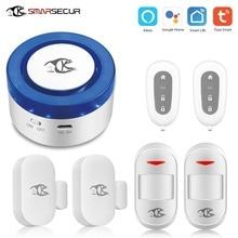Smart home security wifi alarm siren  for smart life free APP compatible motion sensor detector