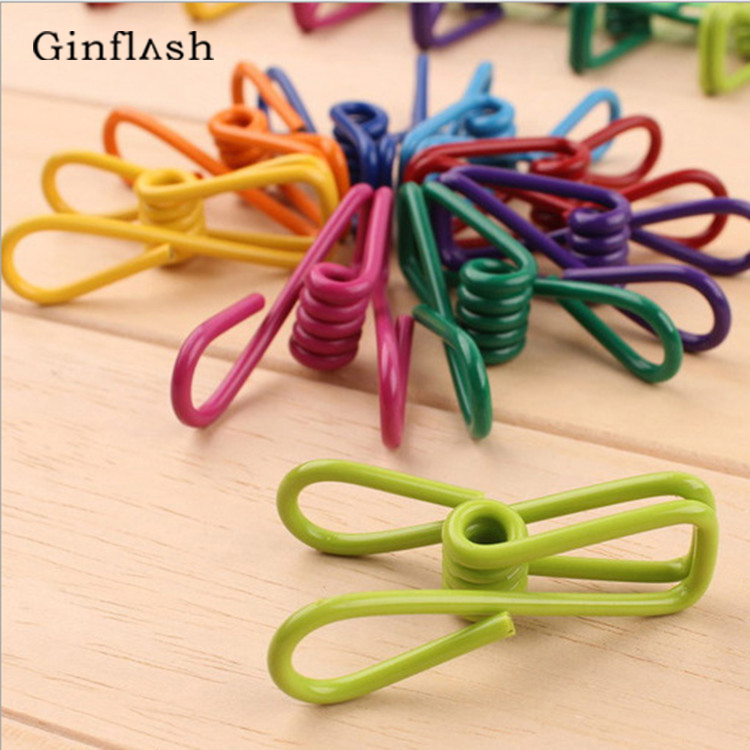 10pcs/lot Metal Stainless Steel  Clip Mini Color  Clips Decorations Paper Photo Spring Clips For Message Cards Office Supply