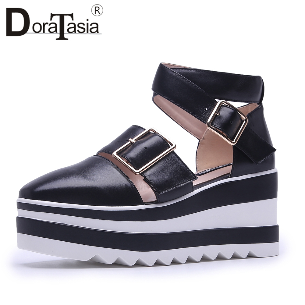 Doratasia 2019 Genuine Leather Square Toe Buckle Strap Woman Shoes Platform Summer Sandals Shoes Woman Size