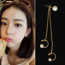 1 pcs Sweet Simulated Pearl Ear Bone Earrings Fashion Chain Metal Gift For Women Accessories