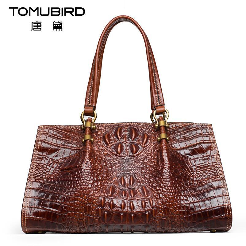 Famous brand top quality Cow Leather women bag 2016 new crocodile messenger bag Retro handbag Boston bag все цены