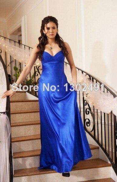 Nina Dobrev Blue Prom Dress In Vampire Diaries Miss Mystic Falls -600x600