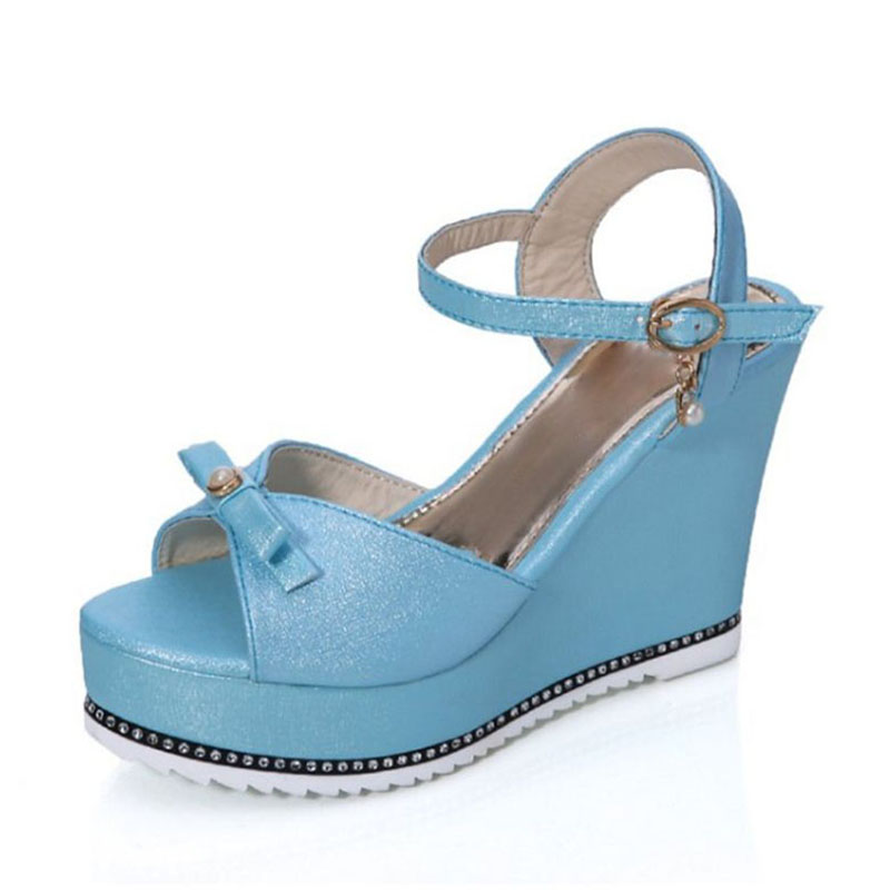 ffe03ea0236c TAOFFEN 4 Colors Sexy Bowknot High Wedges Sandals Ankle Strap Platform  Trifle Sandals Summer Vacation Women Shoes Size 35-39