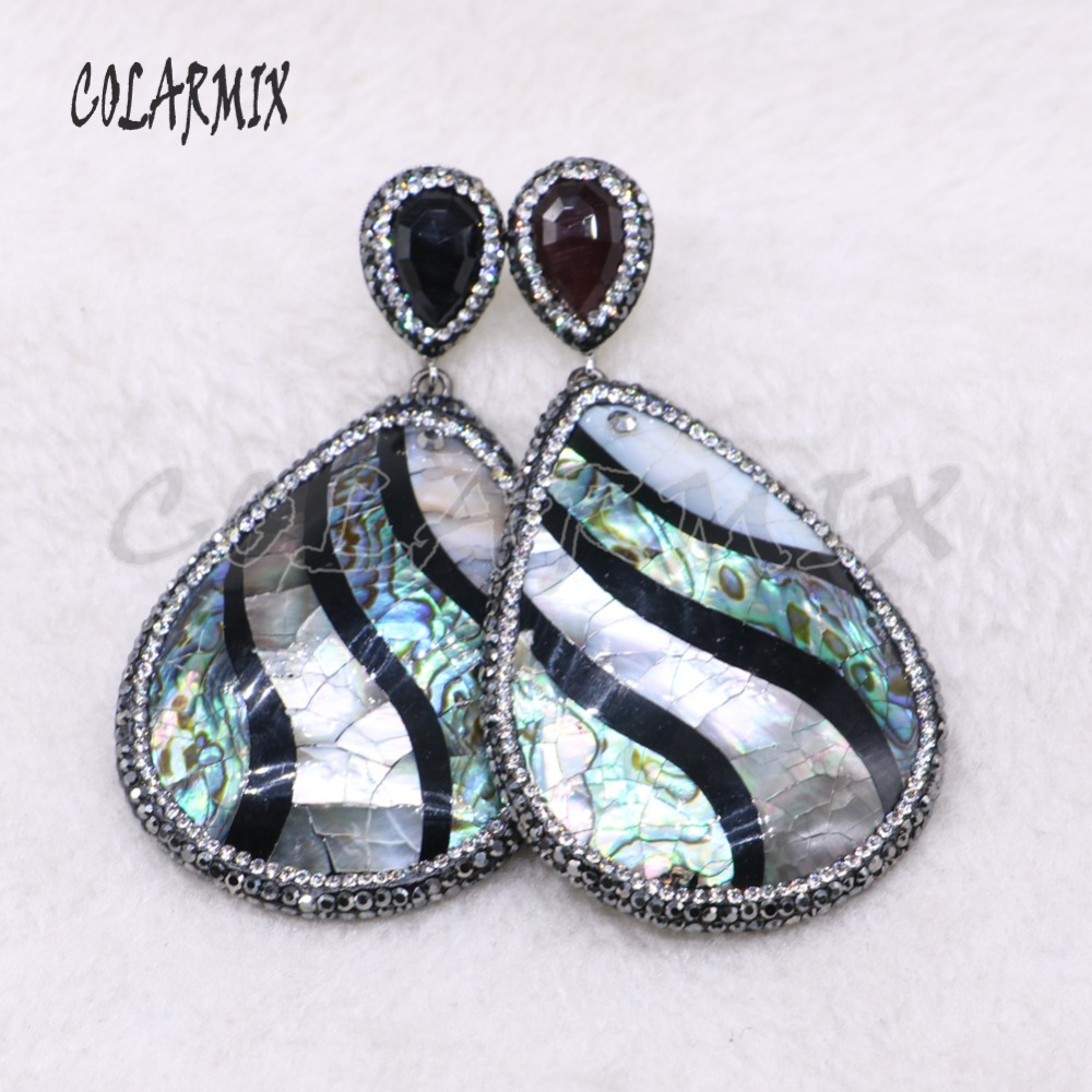 Natural shell stone drop shape earrings abalone shell earrings fashion jewelry Big shell earrings gift for lady3880