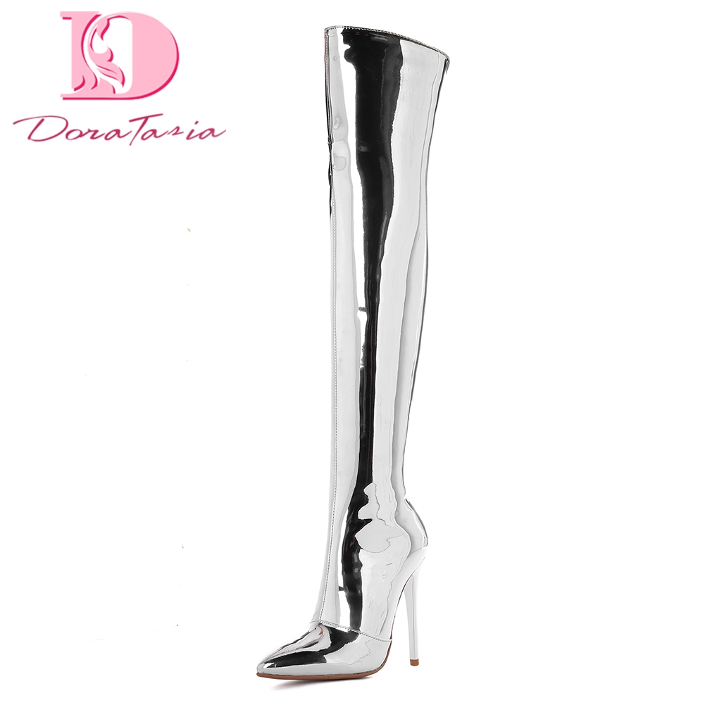 Doratasia new best Quality New Fashion plus Size 33-43 Sexy Thin High Heels Zip Up over-the-knee Boot Women Shoes Woman Boots mu pa500b ww