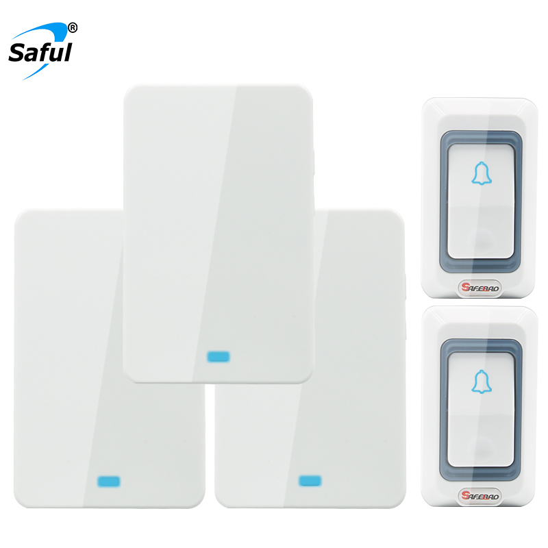 Saful Wireless Doorbell EU/US/UK/AU Plug Waterproof Battery 150M Ring Call Electrical Long Range Smart Home Wall Door Bell wireless cordless digital doorbell remote door bell chime waterproof eu us uk au plug 110 220v