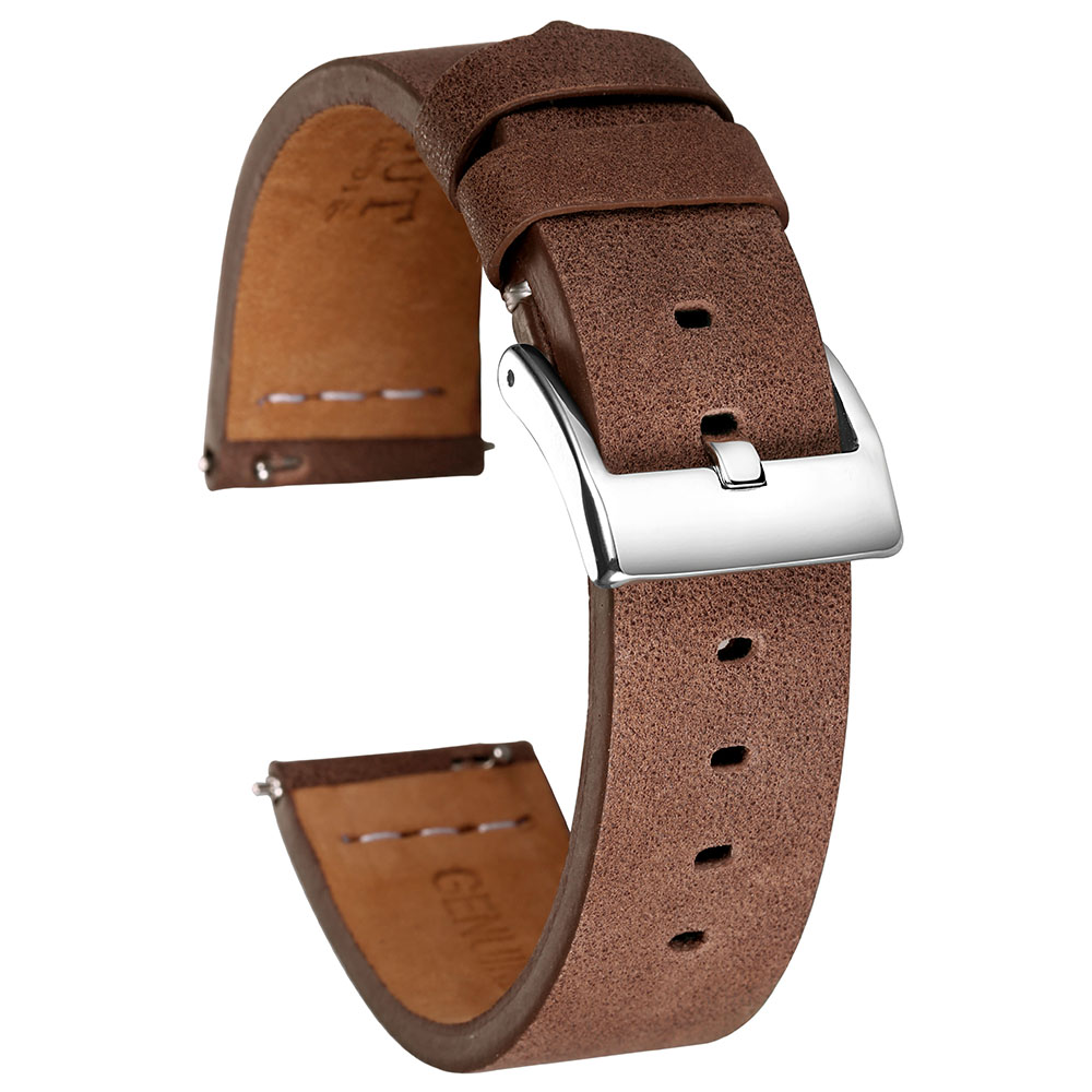 Hemsut Quick Release Leather Watch Bands Saddle Calf Handmade Vintage Leather Watch Strap 18mm 20mm 22mm
