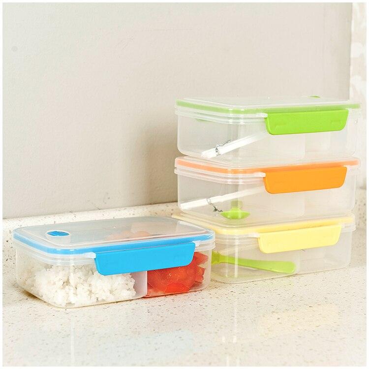 Plástico Bento almuerzo caja picnic almacenamiento de contenedores de alimentos con Tapas cuchara