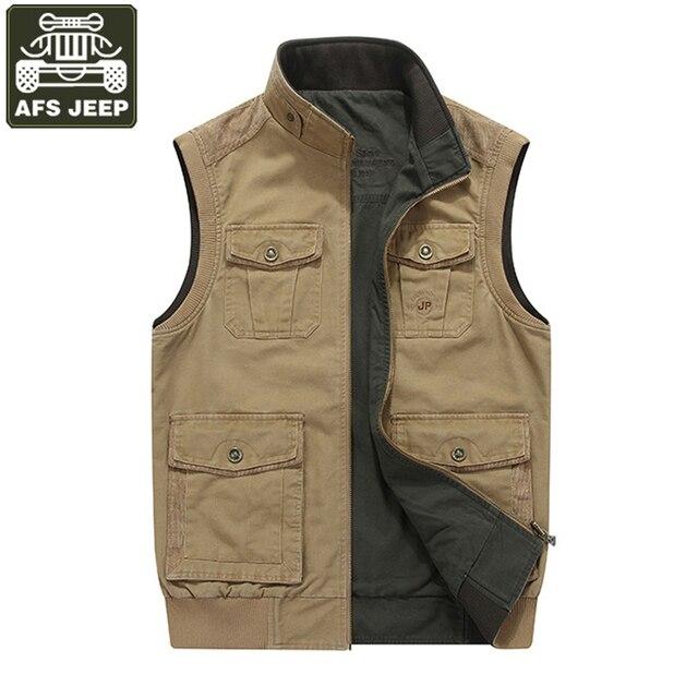 Afs джип бренд жилет мужской Colete masculino мульти-карман жилет плюс Размеры 8XL Двусторонняя одежда Повседневный жилет хлопок chaleco Hombre