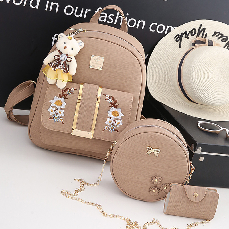 New 4 Pcs/Set Vintage Embroidery Women Backpack Fashion Flowers School backpacks for Teenagers Girl PU Leather Women shoulde bag hydraulic knockout tool hydraulic hole macking tool hydraulic punch tool syk 15 with the die range from 63mm to 114mm